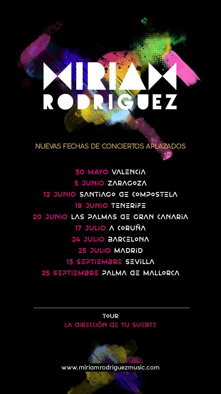"""Comunicado aplazamientos Gira """"LA DIRECCIÓN DE TU SUERTE"""" de Miriam Rodríguez"""