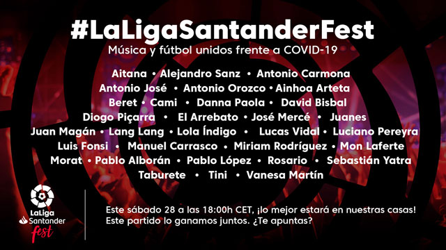 LaLigaSantander Fest' conectó a 50 millones de personas, recaudó 1.003.532 € y 1 millón de mascarillas para la lucha contra el COVID-19
