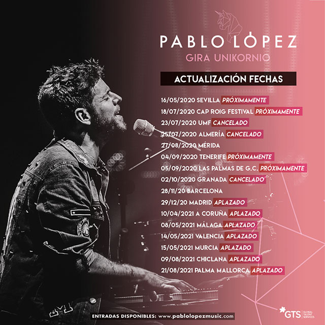 Actualización de las Fechas de la Gira Unikornio. Pablo López.
